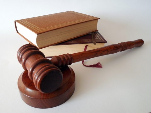 Gavel in front of two law books