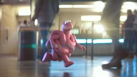 A cartoon running through an airport terminal