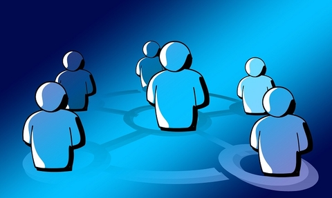 Computer made humans standing in a circle
