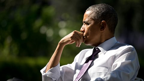 Barack Obama looking thoughtful