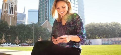 att woman with phone