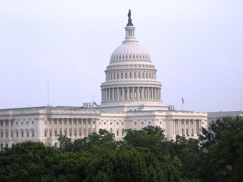 capitol building above trees
