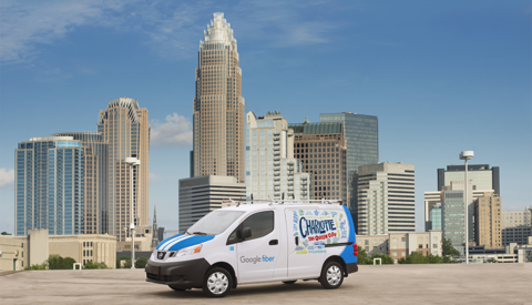Google Fiber van in front of Charlotte skyline