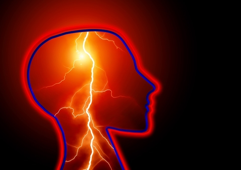 The outline of a person's head with a lightning bold inside of it