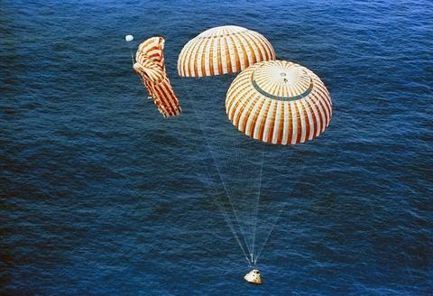 white and orange parachute