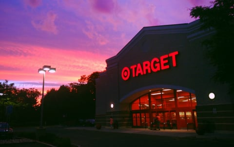 exterior picture of a target store at night