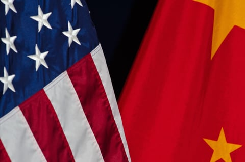 The flags of the United States and China