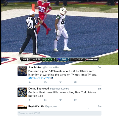 iPad split-screen view of Twitter's first Thursday Night Football game