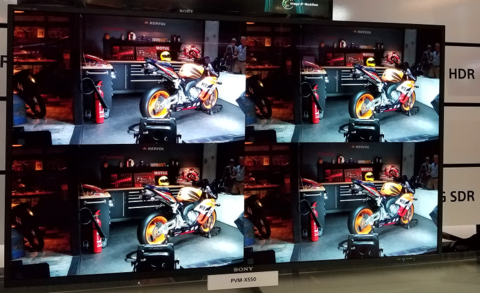 Multiple HD screens on display at the Sony broadcast booth at IBC 2016. Image: FierceOnlineVideo