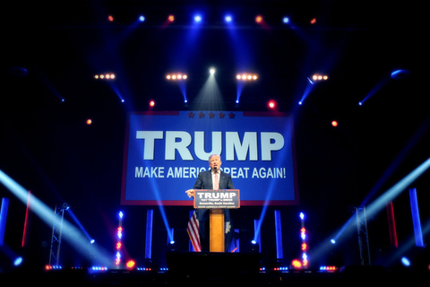 Donald Trump speaking at rally