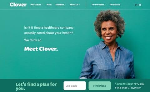 screenshot of Clover Health website