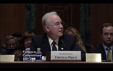 Tom Price speaking at hearing