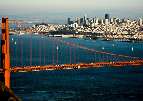 San Francisco with Golden Gate bridge in foreground