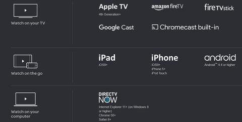 DirecTV Now devices (DirecTV Now)