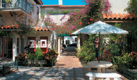 Worth Avenue in downtown Palm Beach is a destination unto itself, with restaurants and shops and plenty of resting areas with flowers and dappled sunlight.