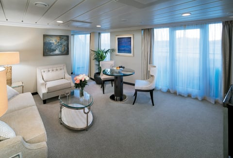 Oceania Cruises added Sirena to its fleet in 2016, with a new dining concept, a Canyon Ranch SpaClub and upgraded entertainment offerings. Seen here is the living room of the 786-square-foot Vista Suite.