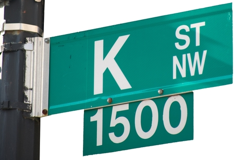 Close-up of K Street sign
