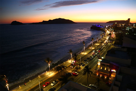 Nighttime along the coast of Mazatlan, Mexico