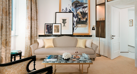 Hotel Eden in Rome, which closed for a massive renovation, reopens April 1. A suite living room is shown here.