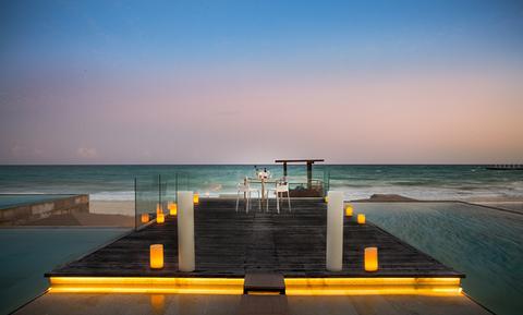 Grand Hyatt Playa del Carmen beach dining - editorial only