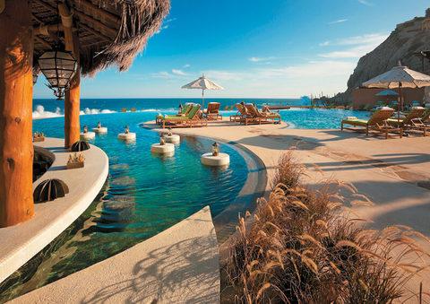The Resort at Pedregal's adults pool is situated near the bar and provides sweeping views of the Pacific Ocean.