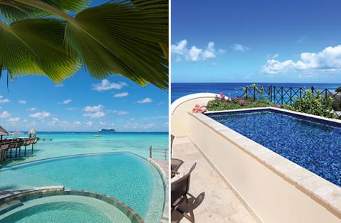 Hotel pools at Hotel Kia Ora Resort & Spa and Langara, The Penthouse at Sandy Cove Barbados