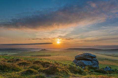 Dartmoor, England at sunrise