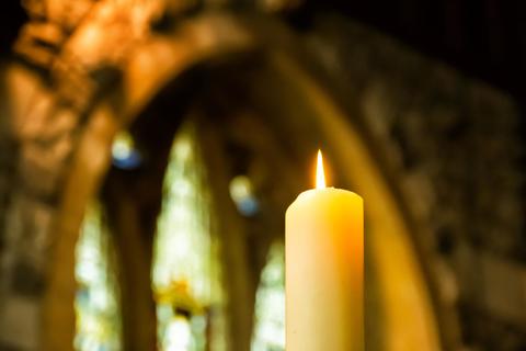 Memorial candle in church