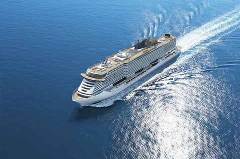 Aerial view of MSC Seaside