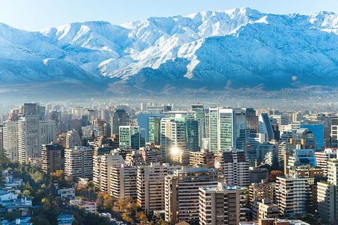 Skyline of Santiago Chile with the Andes Mountains in the background