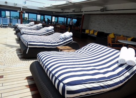 Pool Deck Double Lounge Beds Pool Deck Oceania Cruises Sirena Photo copyrighted by Susan J Young Editorial Use Only