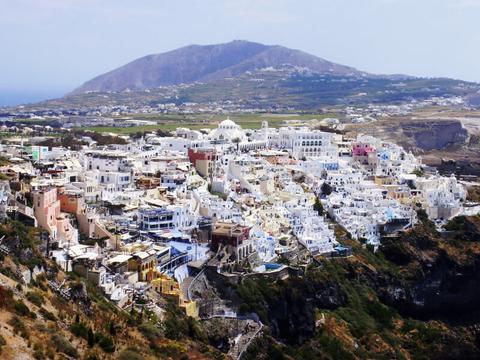 Aerial view of Santorini Greece