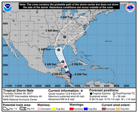 Forecast track for Tropical Storm Nate as of Monday morning