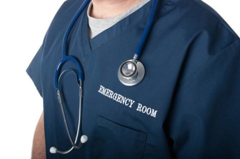Emergency room doctor physician stethoscope scrubs Getty/gordonsaunders