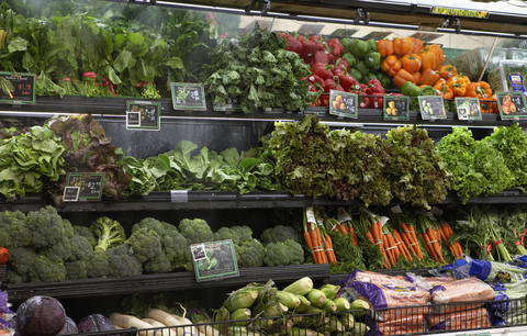 Grocery store fruits and vegetables