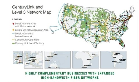 A map of CenturyLink and Level 3's network