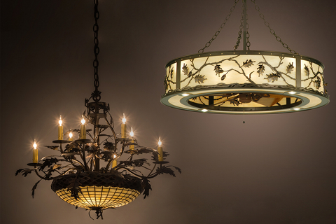 Meyda Custom Lighting launched the Greenbriar Oak 8-arm chandelier and Oak Leaf & Acorn Chandel-Air.