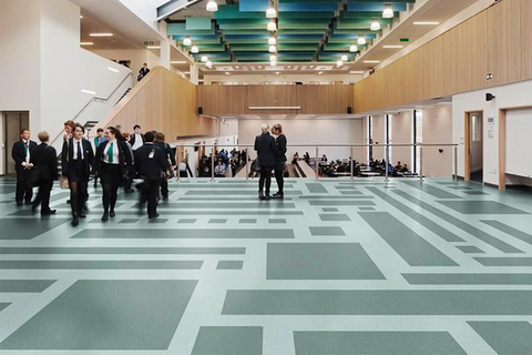 Ecore, a company that transforms reclaimed materials into performance surfaces, refined its offering of Polyflor resilient vinyl flooring products.
