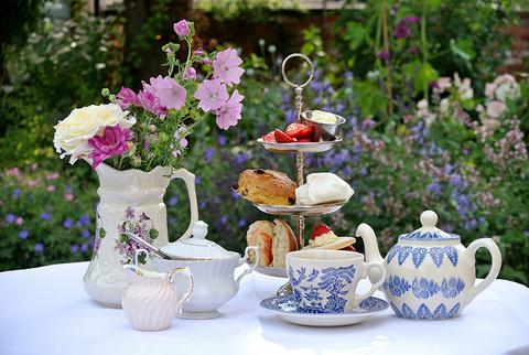 An afternoon tea service in a garden