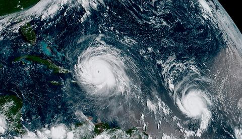 Hurricane Irma and Hurricane Jose over the Caribbean