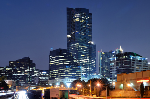 Skyline of Buckhead neighborhood in Atlanta at night time