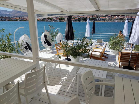 Shot of the private beach club at the Brown Beach House Croatia