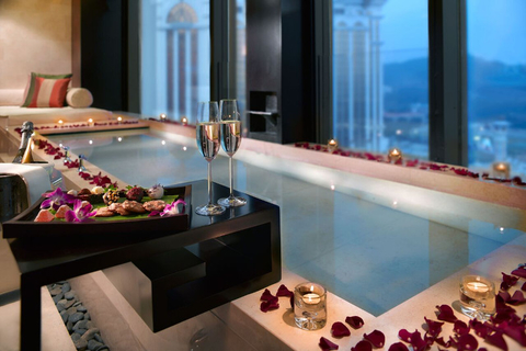 The Honeymoon Suite at the Banyan Tree Macau resort, with champagne.