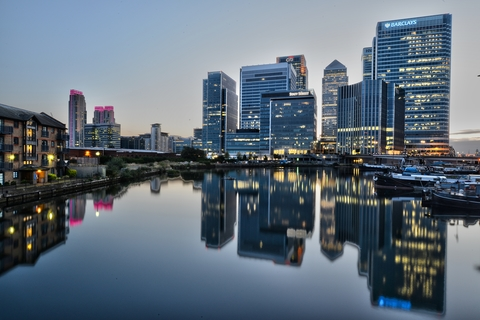 Canary Wharf after sunset