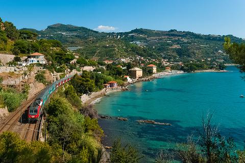 train in Ventimiglia Italy heading to the French Riviera