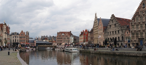 The Graslei harbour in Ghent, Belgium