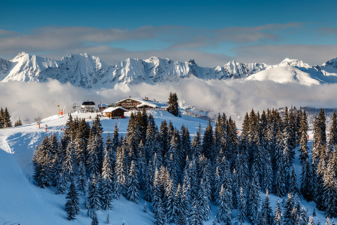A ski resort atop a mountain in the French Alps