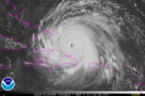 Satellite photo of Hurricane Irma as of Thursday morning