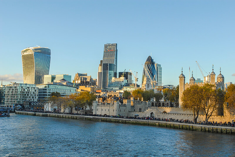 a view of London from the Thames