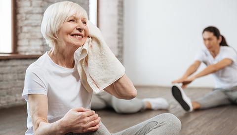 Senior woman after workout